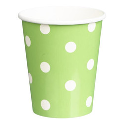Paper Cups 265ml - 16pc - Green Dots