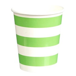 Paper Cups 265ml - 16pc - Green Stripes