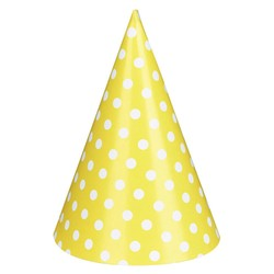 Paper Party Hats - 6pcs - Yellow Dots
