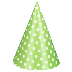 Paper Party Hats - 6pcs - Green Dots