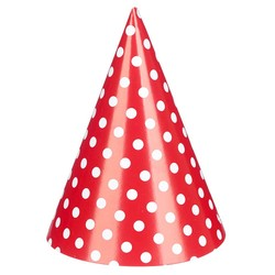 Paper Party Hats - 6pcs - Red Dots