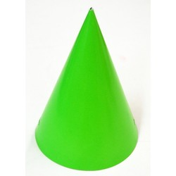 6 x Paper Party Hats Pk - Lime Green