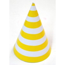 6 x Paper Party Hats Pk - Yellow Stripes