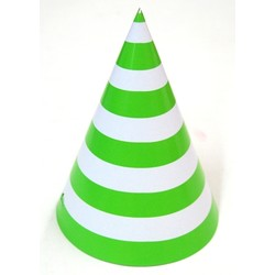 6 x Paper Party Hats Pk - Lime Green Stripes