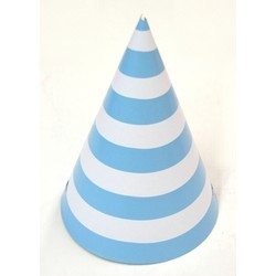 6 x Paper Party Hats Pk - Light Blue Stripes