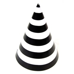 6 x Paper Party Hats Pk - Black Stripes