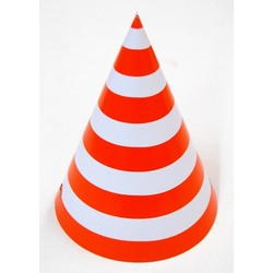 6 x Paper Party Hats Pk - Orange Stripes