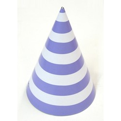 6 x Paper Party Hats Pk - Lilac Stripes