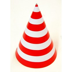 6 x Paper Party Hats Pk - Red Stripes
