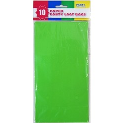 10 x Party Paper Loot Bags - Lime Green