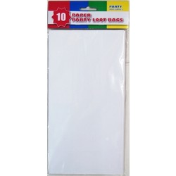10 x Party Paper Loot Bags - White