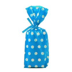 Cello Loot Lolly Bags - 24pcs - Dots - Blue