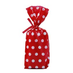 Cello Loot Lolly Bags - 24pcs - Dots - Red