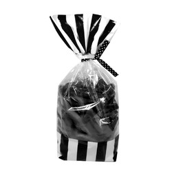 Cello Loot Lolly Bags - 24pcs - Stripes - Black