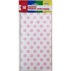10 x Party Paper Loot Bags - Light Pink Spots
