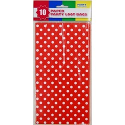 10 x Party Paper Loot Bags - Red Polka Dots