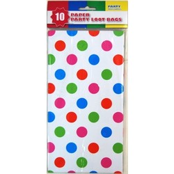10 x Party Paper Loot Bags - Multi Spots White