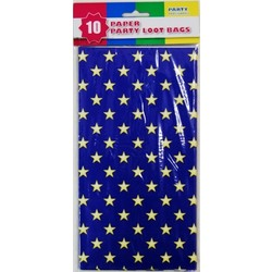 10 x Party Paper Loot Bags - Blue Stars