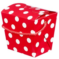 Noodle Box - 4pc - Red Dots