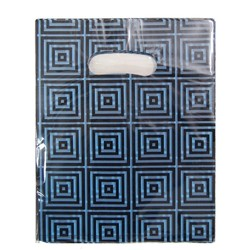 100 x Plastic Party Loot Candy Bags - Blue & Black Squares - Small