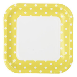 23cm Square Paper Plates - 8pc - Yellow