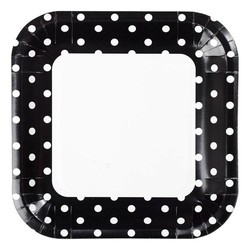 23cm Square Paper Plates - 8pc - Black