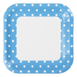 23cm Square Paper Plates - 8pc - Blue