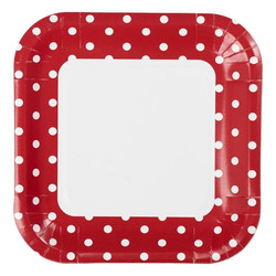 23cm Square Paper Plates - 8pc - Red