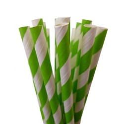 Paper Straws - 20pcs - Green Stripes