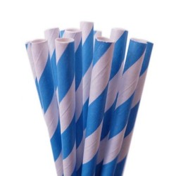 Paper Straws - 20pcs - Blue Stripes