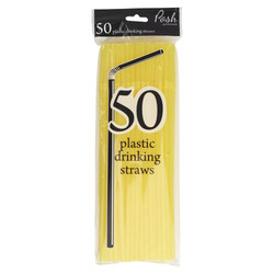 Plastic Straws - Flexible - 50pc - Yellow