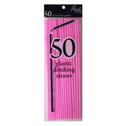 Plastic Straws - Flexible - 50pc - Light Pink