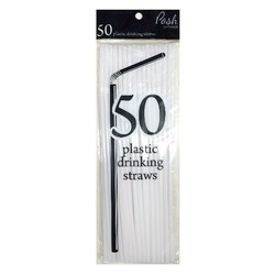 Plastic Straws - Flexible - 50pc - White
