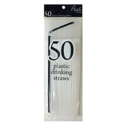 Plastic Straws - Flexible - 50pc - Clear
