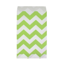 Paper Treat Bags - 12pcs - Chevron - Green