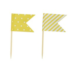 Cake Topper - Flags - Dots & Stripes - 24pcs - Yellow