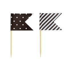 Cake Topper - Flags - Dots & Stripes - 24pcs - Black
