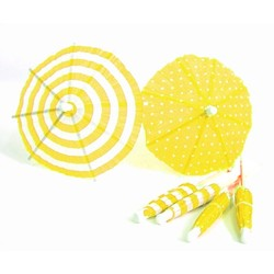 Umbrella Cocktail Picks - 12pcs - Dots & Stripes - Yellow