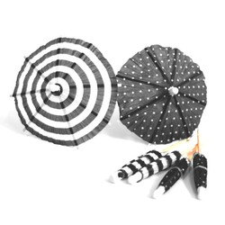 Umbrella Cocktail Picks - 12pcs - Dots & Stripes - Black