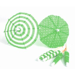 Umbrella Cocktail Picks - 12pcs - Dots & Stripes - Green