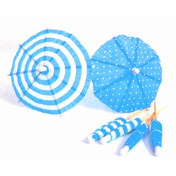 Umbrella Cocktail Picks - 12pcs - Dots & Stripes - Blue