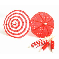Umbrella Cocktail Picks - 12pcs - Dots & Stripes - Red