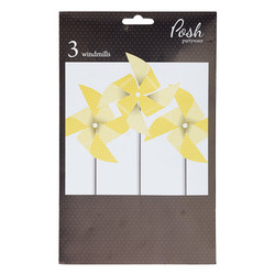 Paper Windmill Decoration - 3pcs - Yellow