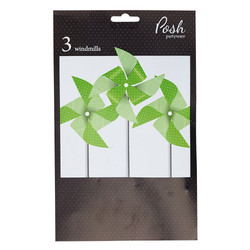 Paper Windmill Decoration - 3pcs - Green