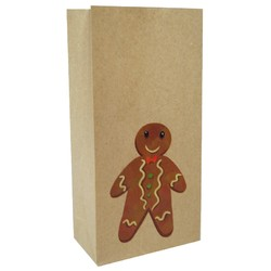 Party Bags - Christmas Kraft Loot Bag - Gingerbread Man
