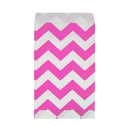 Paper Treat Bags - 50pcs - Chevron - Pink