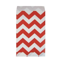 Paper Treat Bags - 50pcs - Chevron - Red