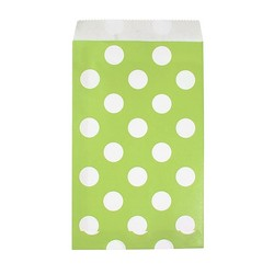Paper Treat Bags - 50pcs - Dots - Lime Green