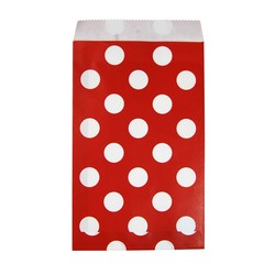 Paper Treat Bags - 50pcs - Dots - Red