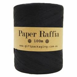 Paper Raffia - 4mm x 100metres - Black
